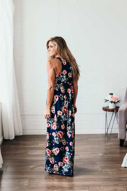 Blooming Love Floral Racerback Maxi - Navy Multi
