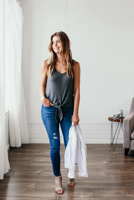 Marley Ribbed Knit Knot Tank - Charcoal - FINAL SALE