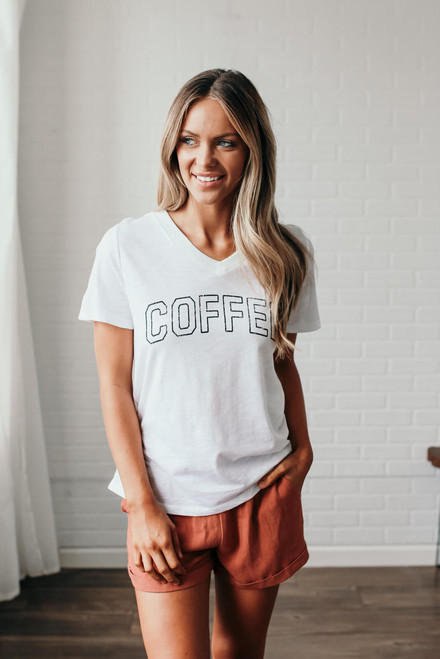 V-Neck Coffee Graphic Tee - Off White