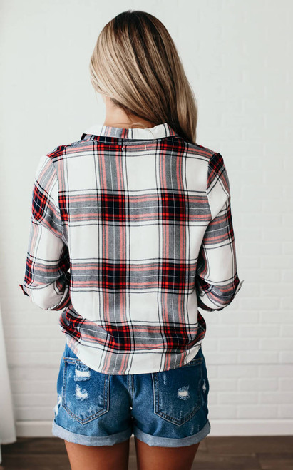 Western Wind Plaid Knot Top - Red Multi