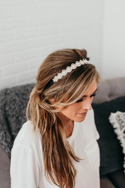 Headbands of Hope Dainty Pearl Headband - Gold