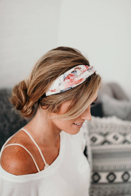 Headbands of Hope Floral Twist Headband - Ivory Multi