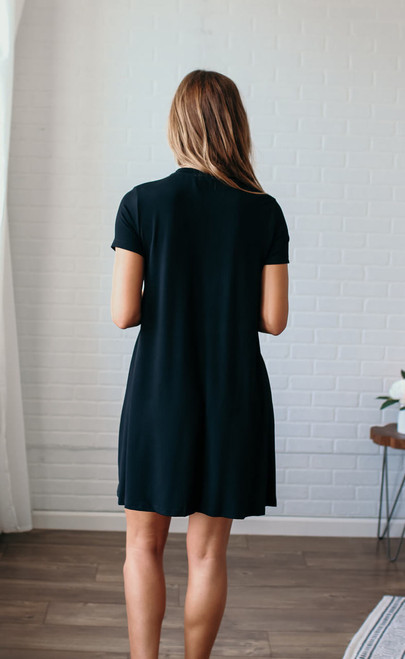 Olivia V-Neck Embroidered Dress - Black - FINAL SALE