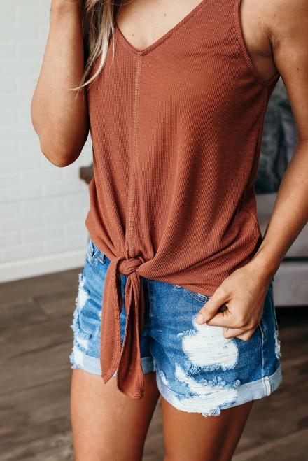 Marley Ribbed Knit Knot Tank - Rust