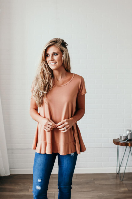 Ruffle Accented Lace Back Top - Butterscotch - FINAL SALE