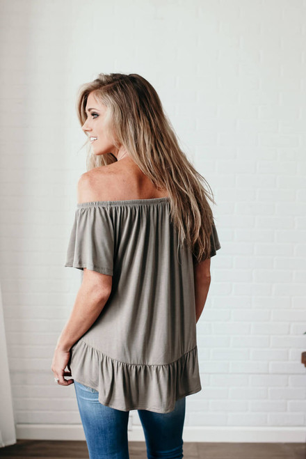 Off the Shoulder Button Down Top - Olive  - FINAL SALE
