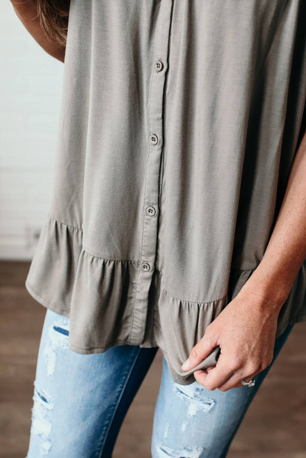 Off the Shoulder Button Down Top - Olive