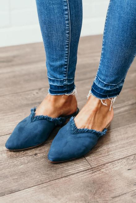 Free People Newport Leather Flat - Blue
