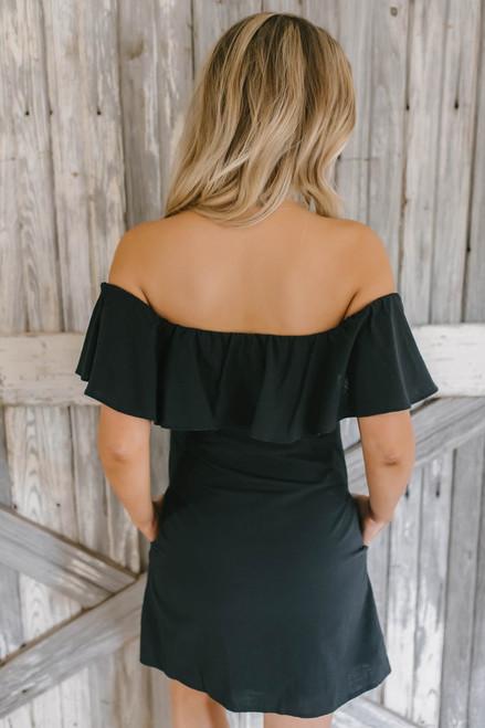 Off the Shoulder Button Down Dress - Black  - FINAL SALE