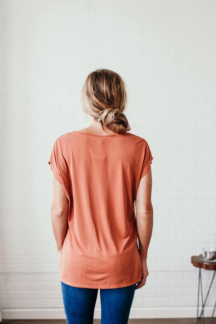 Gemma Keyhole Twisted Hem Top - Rust