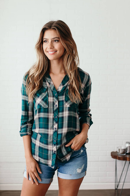 End of the Road Button Down Plaid Top - Hunter Green