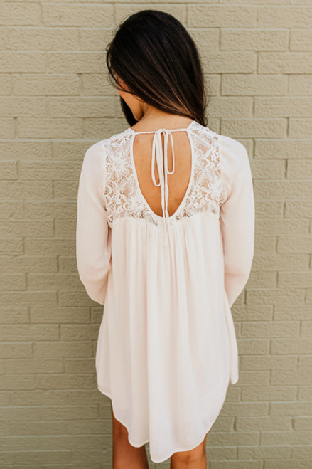 Flare Sleeve Lace Detail Dress - Cream - FINAL SALE