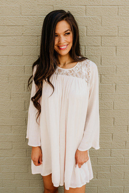 Flare Sleeve Lace Detail Dress - Cream