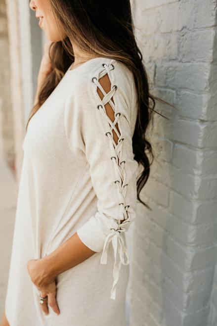 Lace Up Sleeve French Terry Dress - Heather Taupe