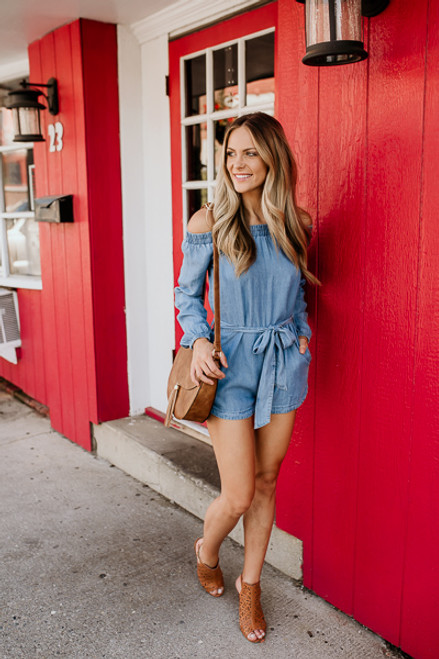 Off the Shoulder Chambray Romper - Light Wash