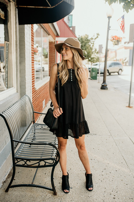 Free People Calico Trapeze Dress - Black - FINAL SALE