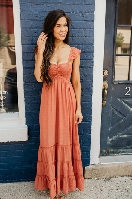 Waters Edge Tiered Peasant Maxi - Rust