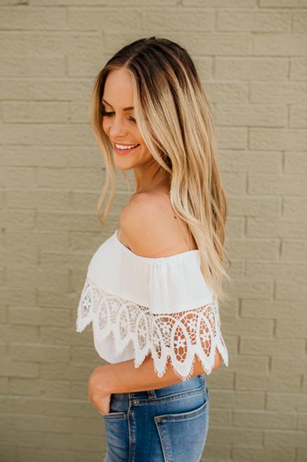 Off the Shoulder Crochet Crop Top - Off White