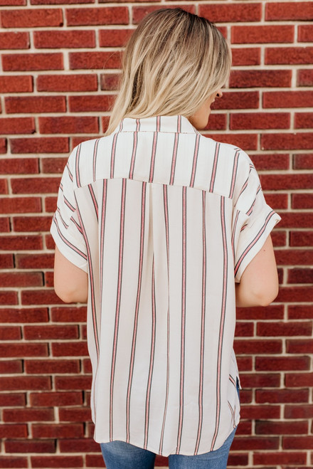 Carley Button Down Striped Top - Ivory Multi - FINAL SALE
