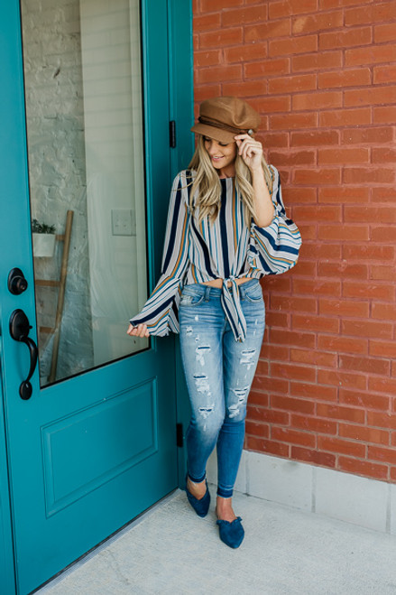 Bell Sleeve Striped Knot Top - Navy Multi - FINAL SALE