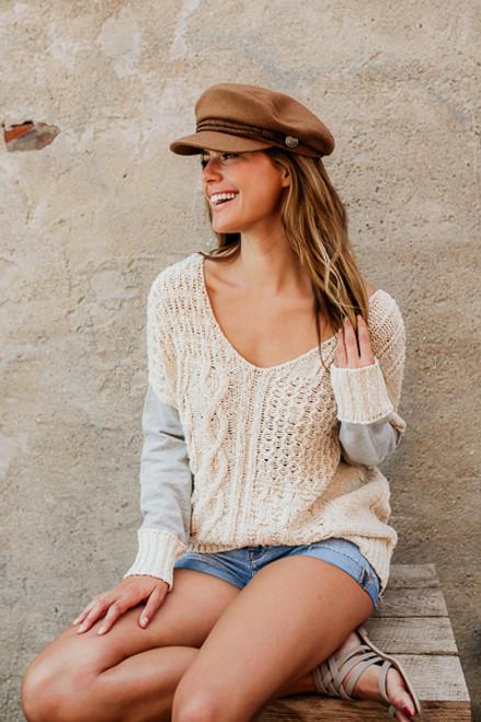 Sweatshirt Detail Cross Back Sweater - Natural/Grey - FINAL SALE