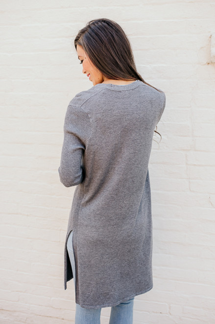 Winding Road Duster Cardigan - Charcoal