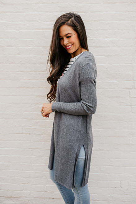 Winding Road Duster Cardigan - Charcoal - FINAL SALE