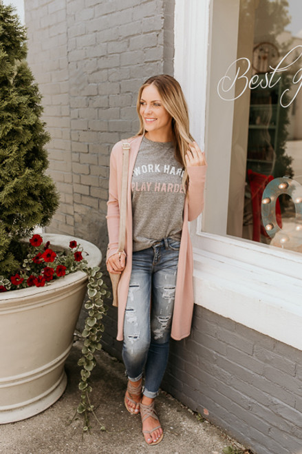 Winding Road Duster Cardigan - Blush