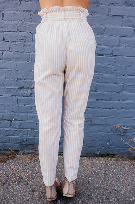 Pacific Coast Cropped Striped Pants - Oatmeal/White - FINAL SALE