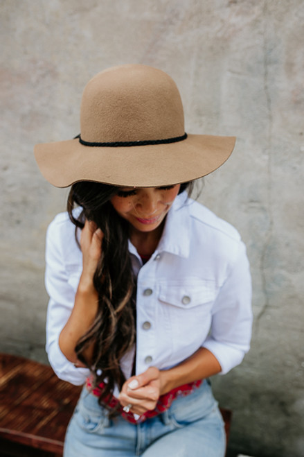 Aubrey Braided Detail Floppy Hat - Pecan
