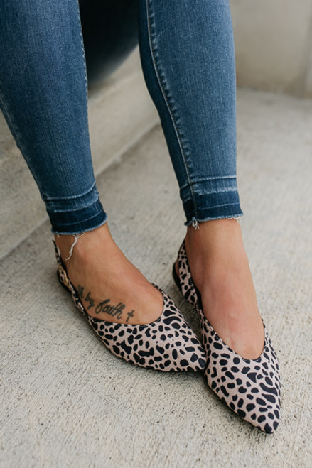 From Paris With Love Leopard Slingback Flats - Black/Nude