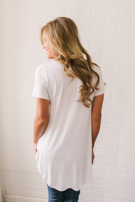 Danica V-Neck Pocket Tee - White