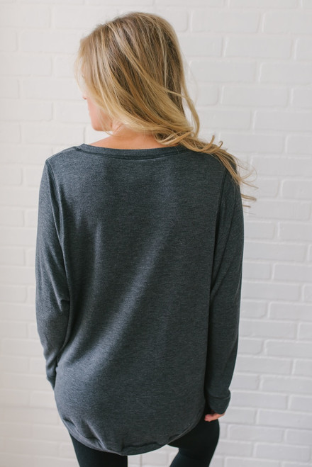 Contrast Stitch French Terry Pullover - Charcoal