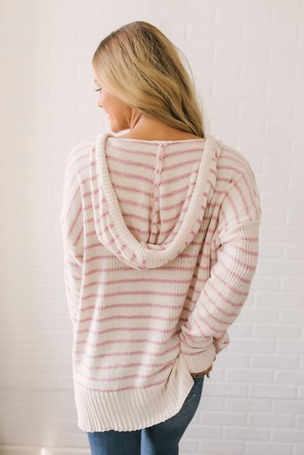 Drawstring Hooded Chenille Pullover - Ivory/Blush