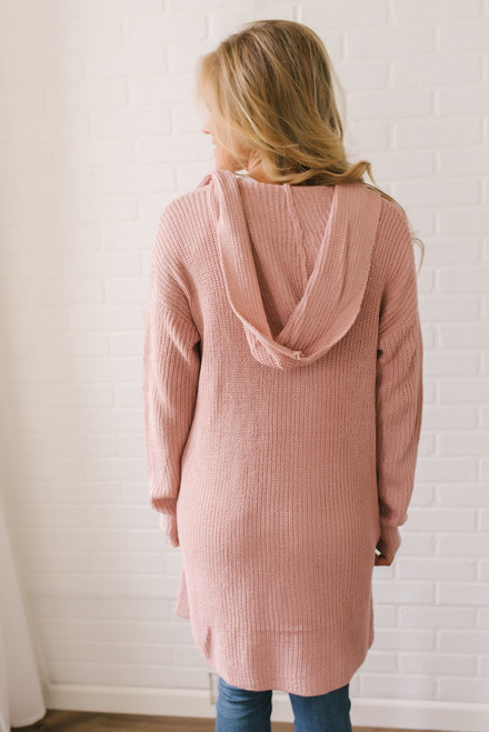 Wishing Well Hooded Pocket Cardigan - Pink