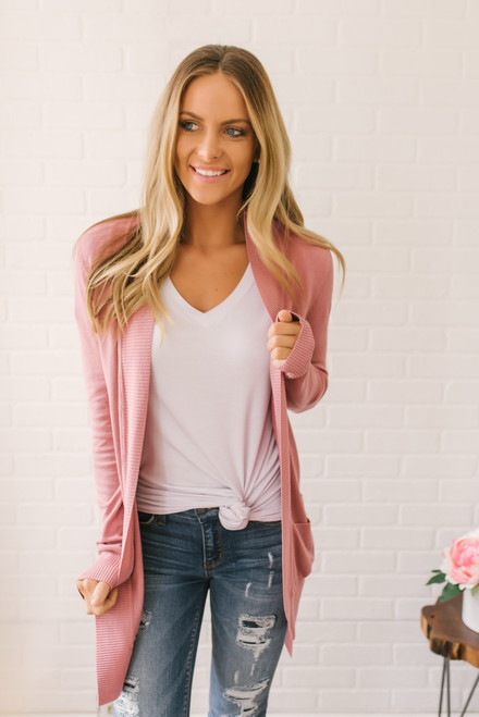 Down by the Bay Knit Cardigan - Dusty Rose