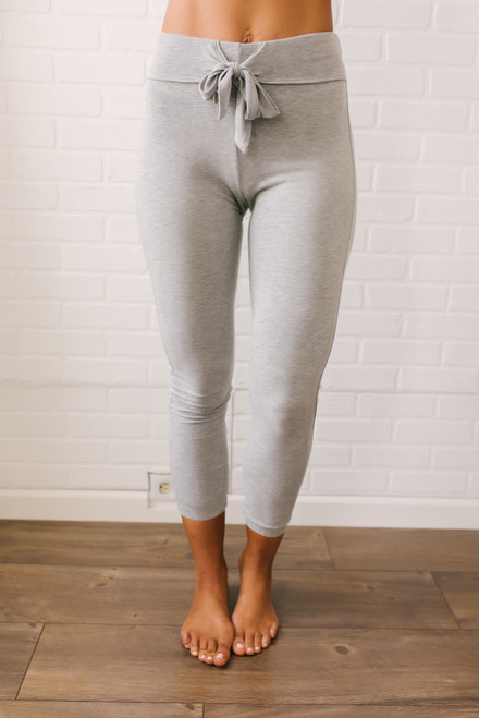 French Terry Tie Waist Joggers - Heather Grey