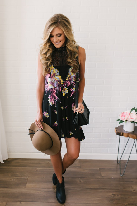 Free People Marsha Printed Slip Dress - Onyx Combo