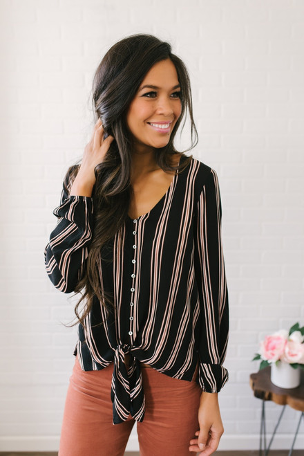 Stella Striped Button Down Knot Top - Black/Rust