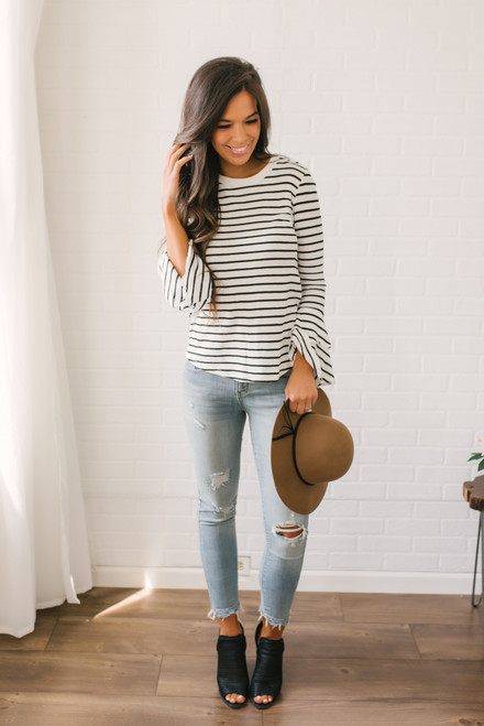 Layered Flare Sleeve Striped Top - White/Black