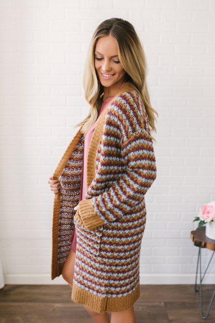 Cinnamon Spice Striped Cardigan - Camel Multi