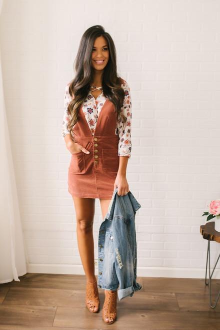 Pippa Corduroy Overall Dress - Brick