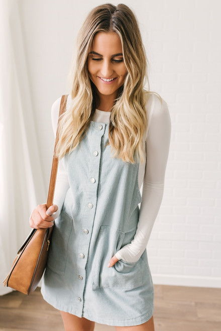 California Waves Corduroy Overall Dress - Sky Blue