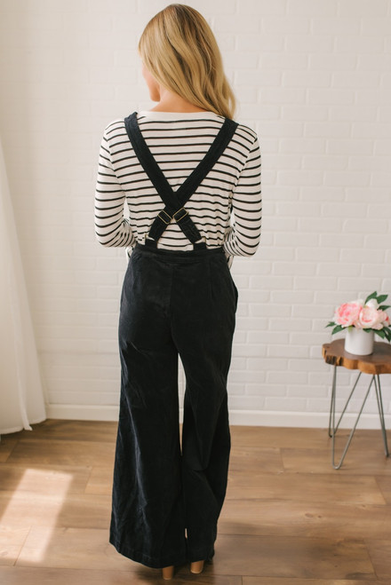 All the Right Moves Corduroy Overalls - Black - FINAL SALE