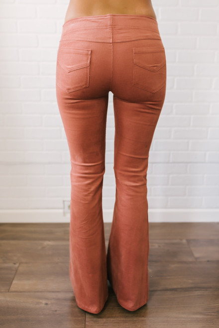 Play That Song Flare Corduroy Pants - Brick