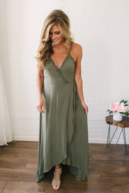 One Fine Day Embroidered Wrap Maxi - Olive