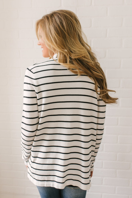 Hyde Park Cascading Striped Cardigan - White/Black