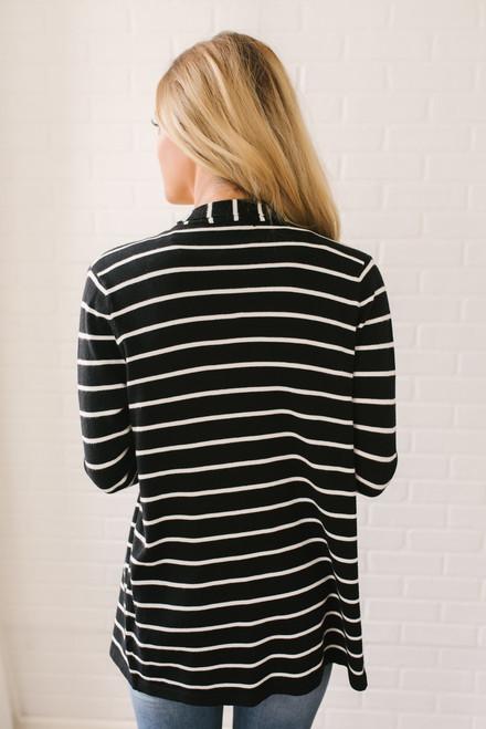 Hyde Park Cascading Striped Cardigan - Black/White