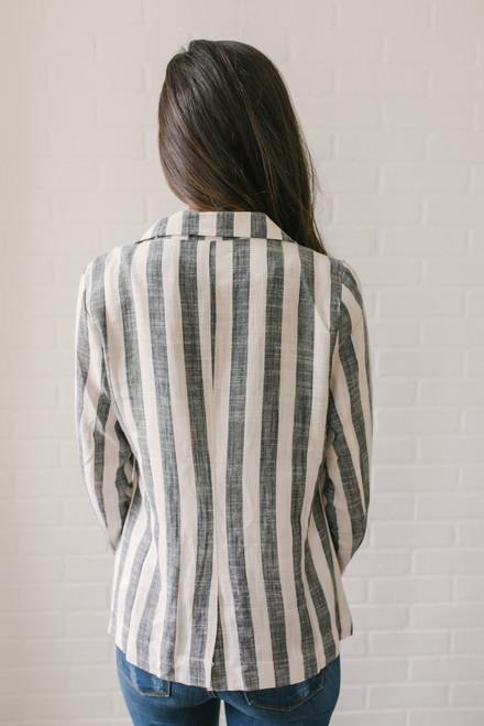 Palm Desert Striped Blazer - Black/White - FINAL SALE