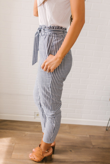 Pacific Coast Cropped Striped Pants - Navy/White